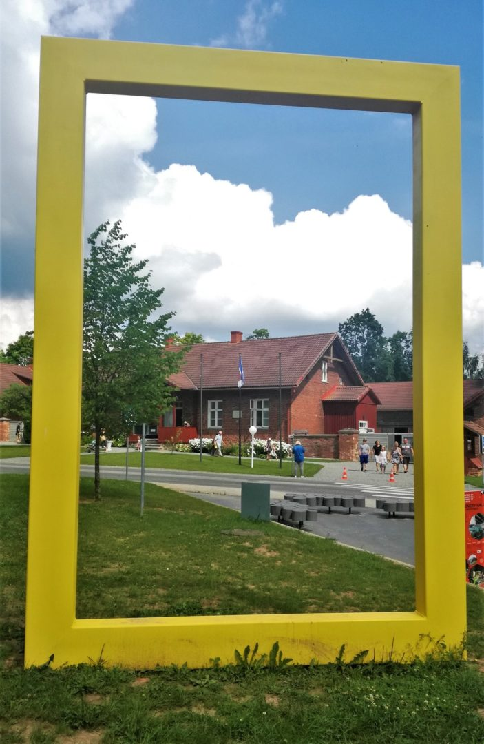 Estonian Road Museum - Yellow national geographic window frame