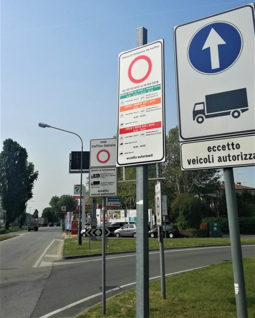 "ZTL and ""Misure di limitazione del traffico"" traffic signs before Marghera district in Mestre"