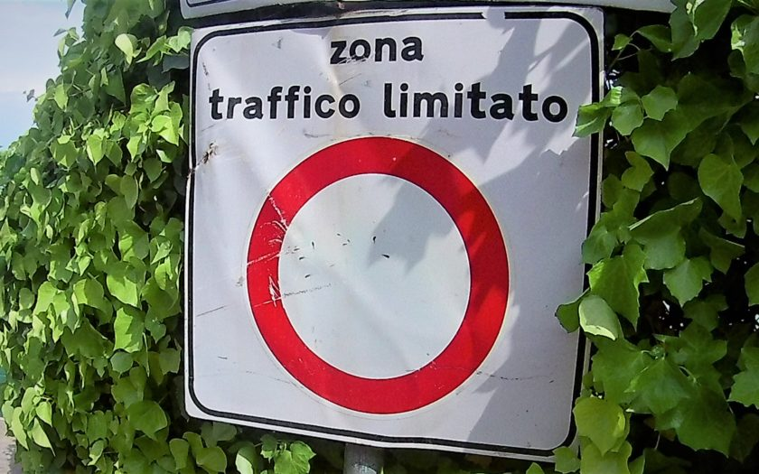 ZTL road sign in Italy - Zona Traffico Limitato