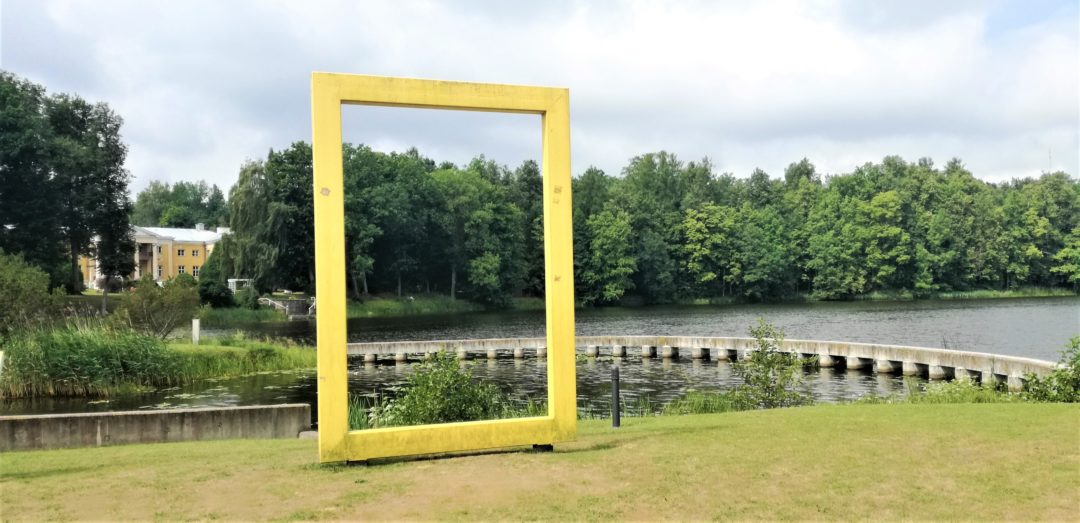 National Geographic yellow frame near Sillapää Castle in Räpina town, Estonia