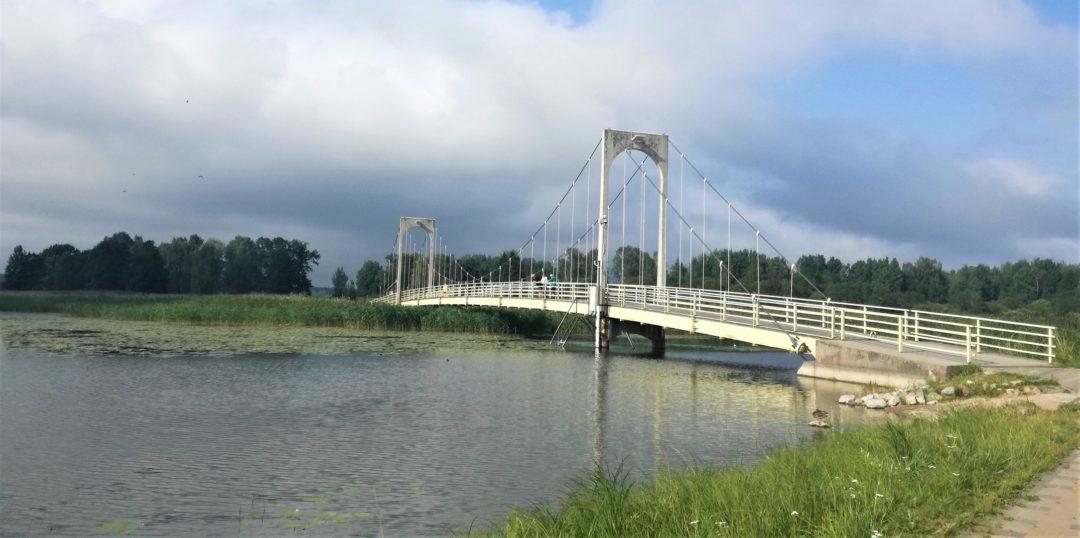Roosisaare Bridge over lake Tamula in Võru city, Estonia