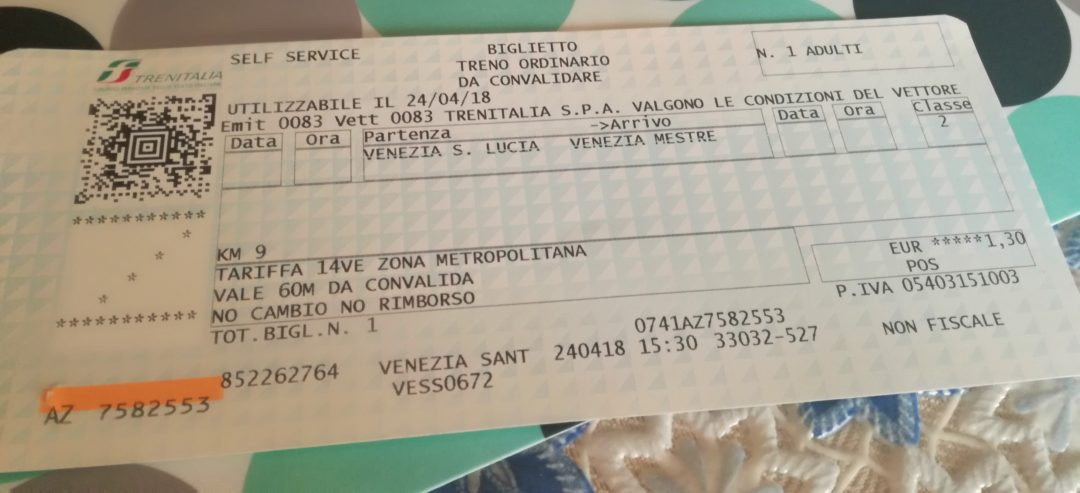 Train ticket from Venice St Lucia train station to Mestre
