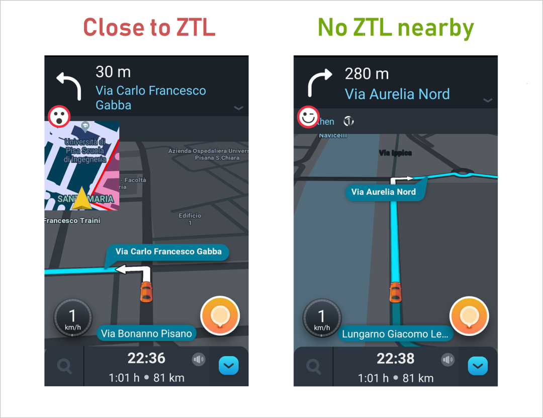 ZTL Radar mobile app - screenshots with Waze
