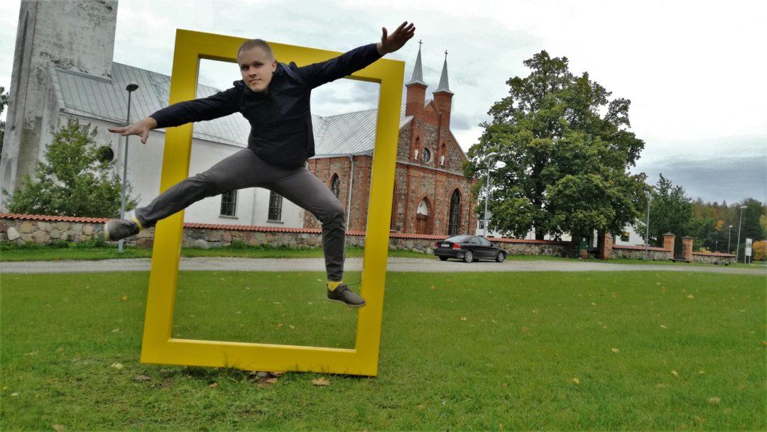 Kambja church - Jumping trough National Geographic yellow frame