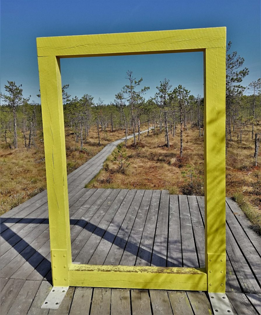 Valgesoo bog - Little wooden yellow frame in the middle of the bog
