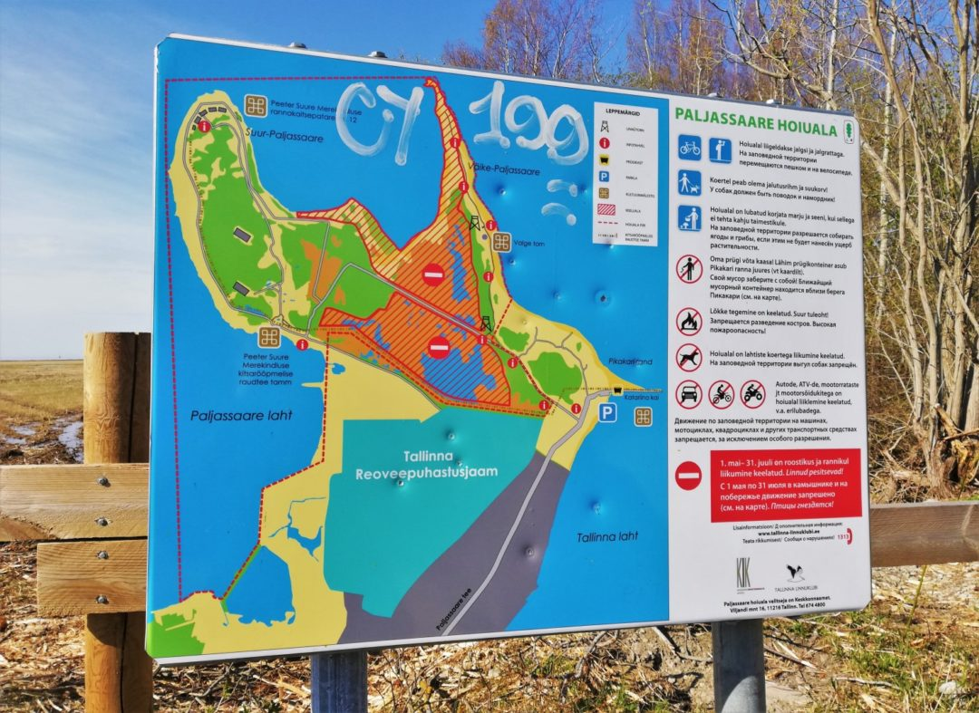 Paljassaare Peninsula - Info board with restrictions info