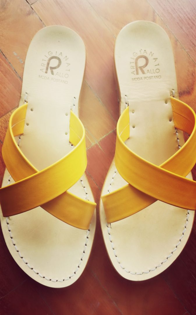 Positano handmade sandals with yellow straps