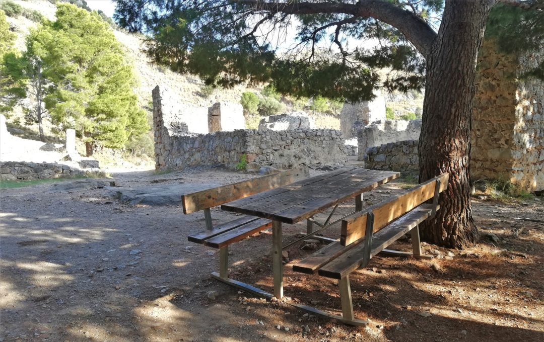 Picnic table near archaeological site / Temple of Diana