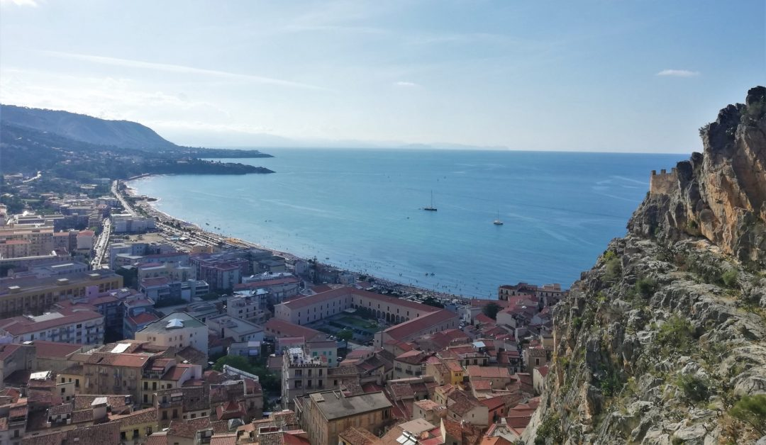 View from La Rocca di Cefalù over town on the way to top