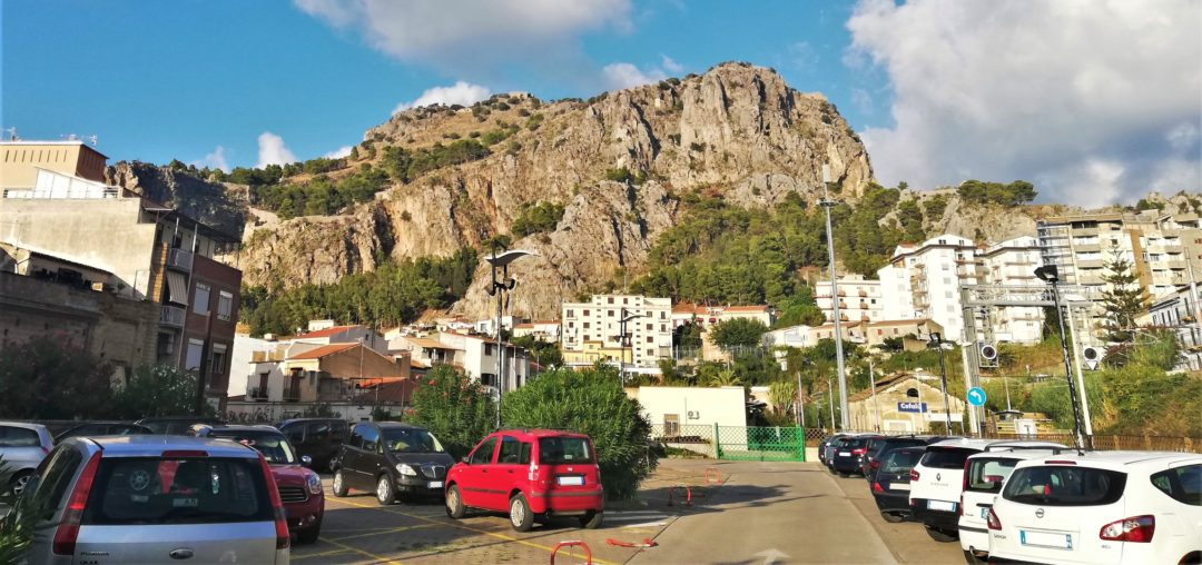 Parcheggio Stazione - a view from the parking lot to the La Rocca di Cefalù
