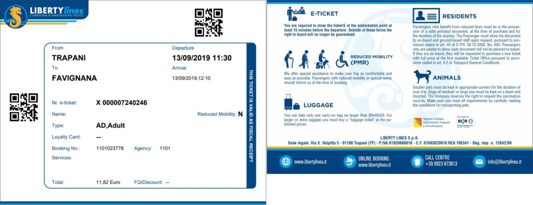 Liberty Lines hydrofoil E-ticket - Trapani to Favignana