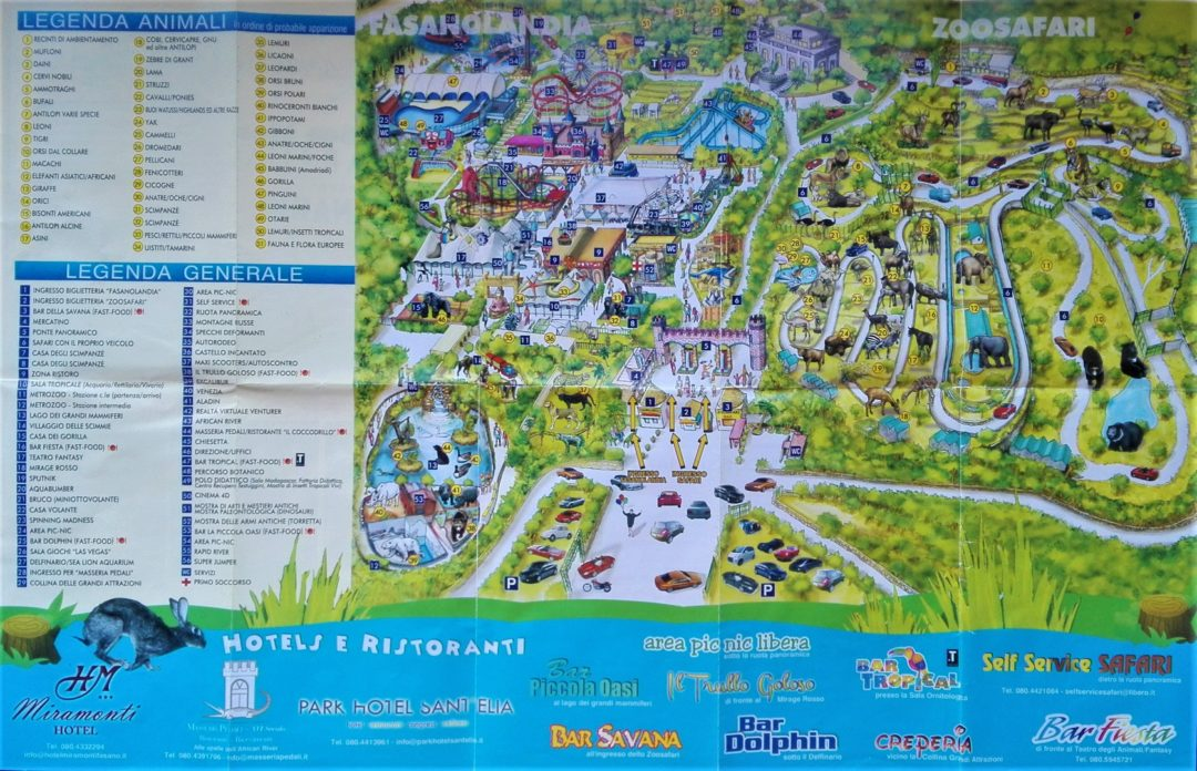Fasanolandia - Map of the whole park (the year 2018)